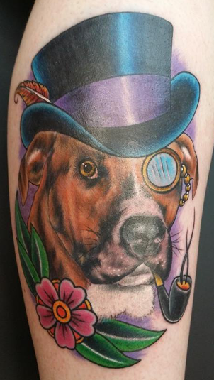 Tattoos - Dog portrait with a  top hat - 104916