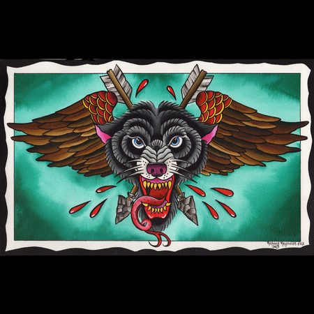 Flying Wolf Head Art Thumbnail