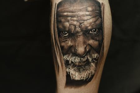 Black and grey portrait tattoo of an older man. Design Thumbnail
