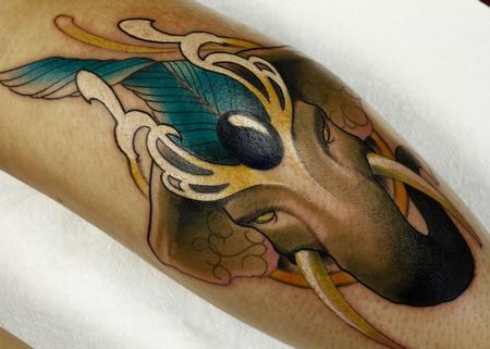 Art nouveau elaphant Tattoo Design Thumbnail