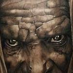 Black and grey portrait tattoo of an older man. Tattoo Design Thumbnail