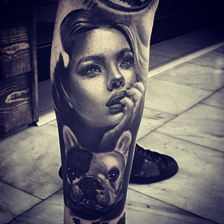 Tattoos - Woman and Dog - 104974
