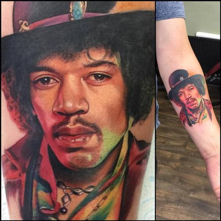 Jimi Hendrix Portrait Tattoo Design Thumbnail