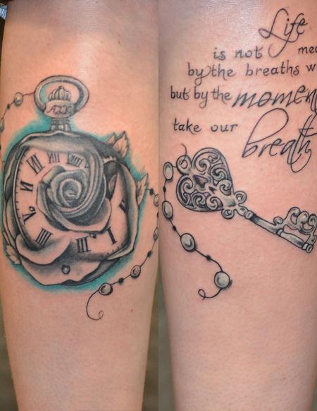 Tattoos - rose and key calves - 114182
