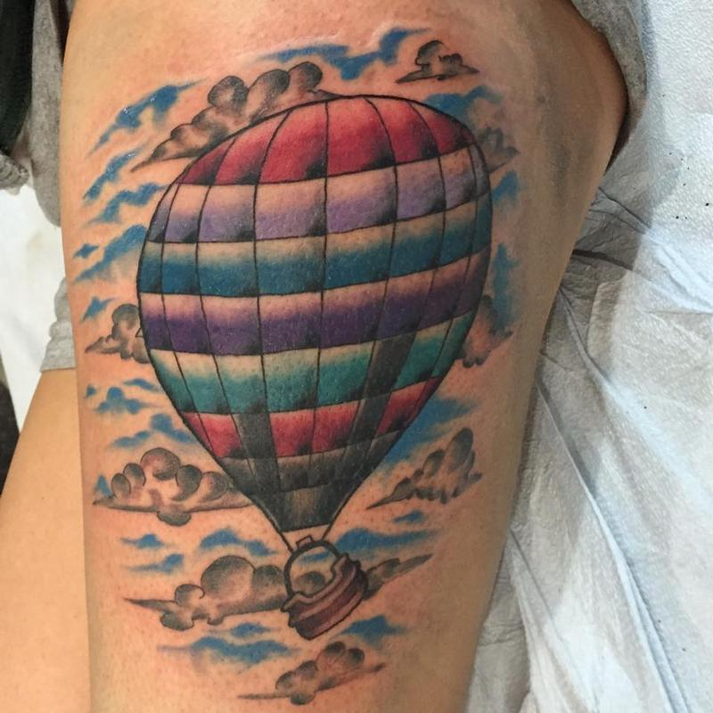 Colorful Traditional Hot Air Balloon with Blue Sky Tattoo ...