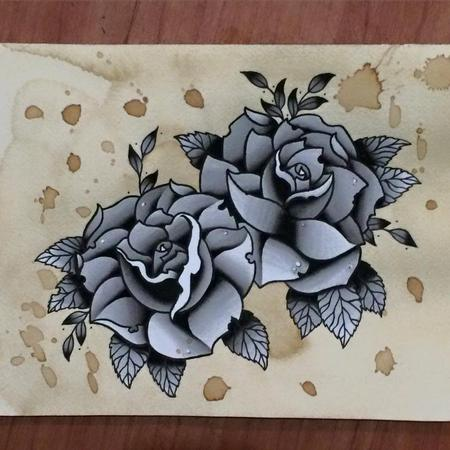 Tattoos - Traditional Black & Grey Rose Tattoo Flash Painting - 101922