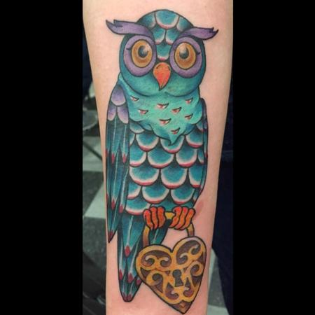 Tattoos - Colorful Traditional Owl and Locket Tattoo - 101935