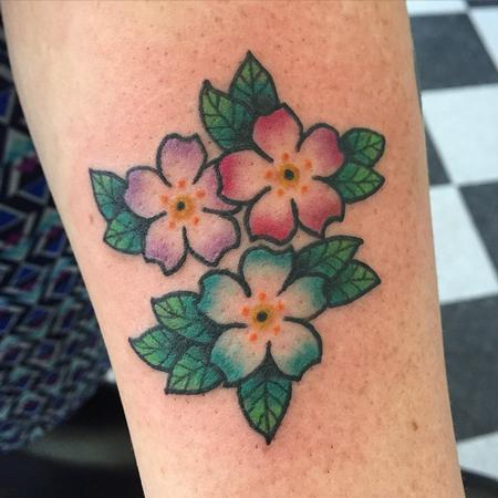 Tattoos - Cute and Colorful Tiny Traditional Flowers - 104784