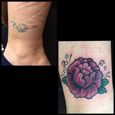 Tattoos - Mexican folk art inspired pink rose ankle cover up tattoo - 119686