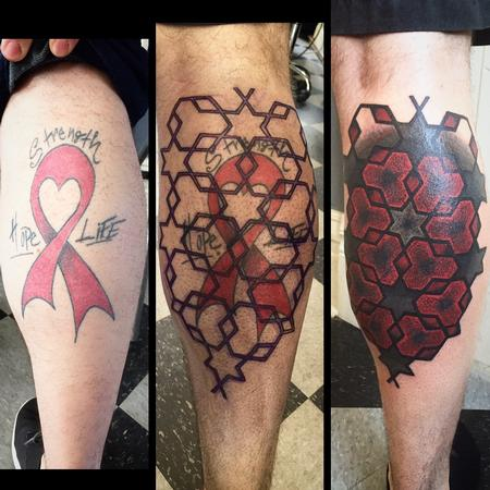 Tattoos - Large scale Blackwork Geometric calf coverup tattoo - 119689