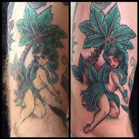 Rework/cover up Pin up hula girl tattoo under a palm tree Design Thumbnail