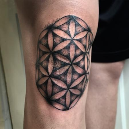 Scared Geometry, flower of life, black work knee tattoo Design Thumbnail