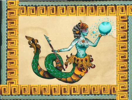 Tattoos - Traditional Mermaid Queen Tattoo Flash Painting - 101905