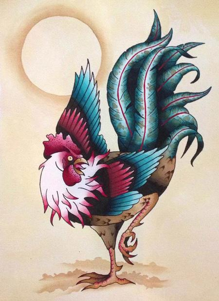 Tattoos - Traditional Rooster Tattoo Flash Painting - 101914