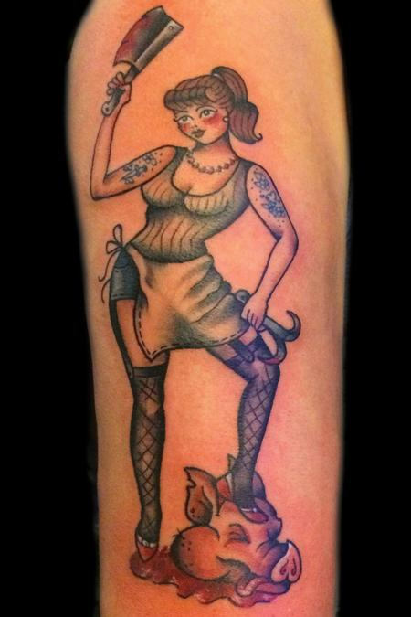 Tattoos - Traditional Tough chick Butcher Pin up - 101881