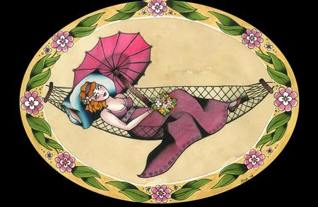 Tattoos - Traditional Lady in a Hammock Pin Up Tattoo Flash Painting - 101906