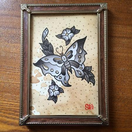 Tattoos - Traditional Black & Grey Butterfly and Cherry Blossom Tattoo Flash Painting - 101907
