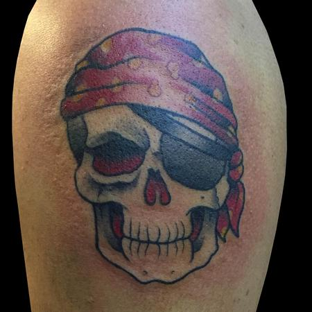 American Traditional Pirate Skull Tattoo Design Thumbnail