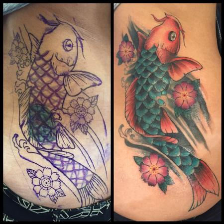 American Traditional Style Cover up with a Koi Fish Design Thumbnail