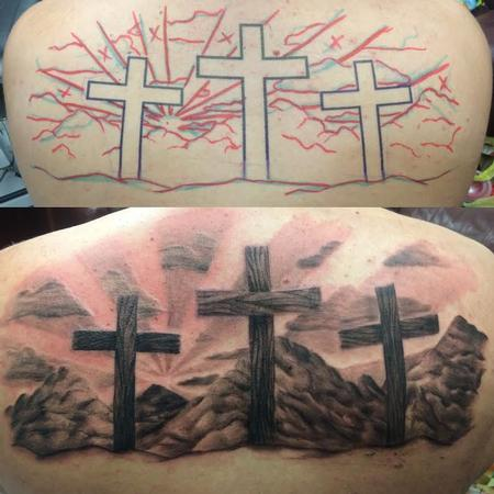 Tattoos - Black and Gray Cross - 119835