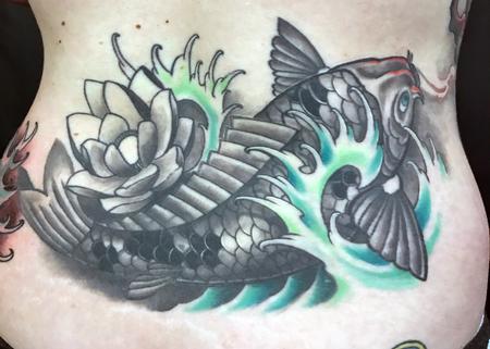 Tattoos - Koi Fish Lower Back - 127426