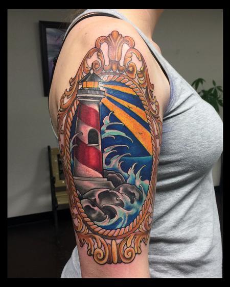 Tattoos - Light House Color Half sleeve - 115743