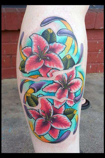 Tattoos - Obnoxious Bright Vivid Color Flowers - 80777