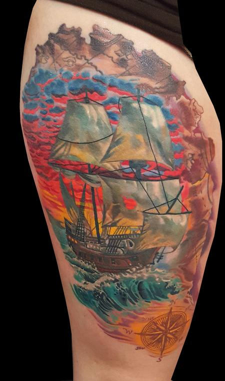pirate ship Tattoo Design