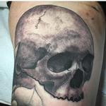Black and Gray Skull Tattoo Design Thumbnail