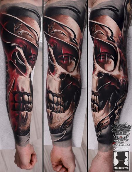 Tattoos - Skull Mask Color Arm Tattoo - 116181
