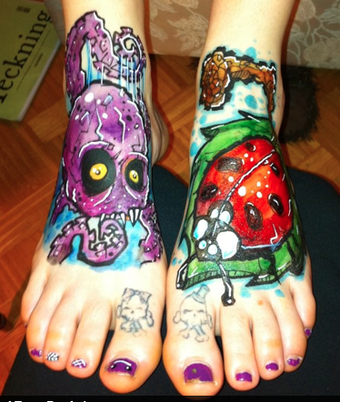 Tattoos - Octopus and Ladybug Foot Tattoos - 99094