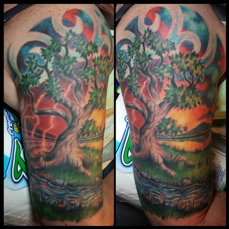 Colorful tree half-sleeve Tattoo Thumbnail