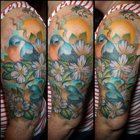 Tyler Andrews - Flowers and bird half sleeve