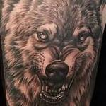 Black and Gray Wolf Half Sleeve Tattoo Tattoo Design Thumbnail