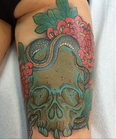 Tattoos - Skul, Snake and Flowers - 124848
