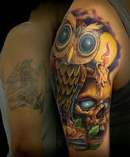 Owl coverup Tattoo Design