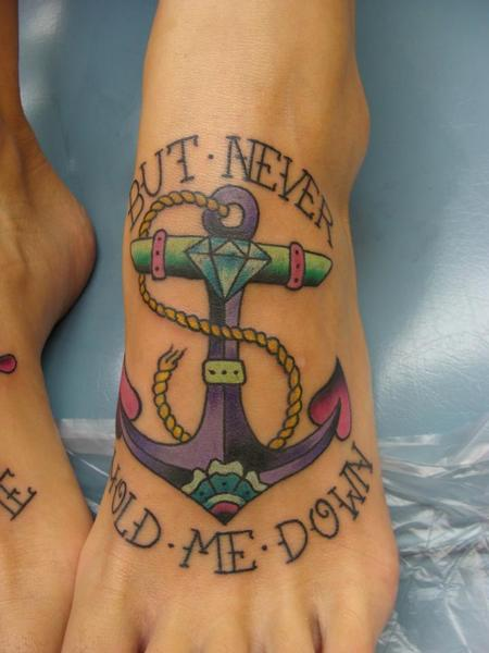 Anchor with Diamond Tattoo Design Thumbnail
