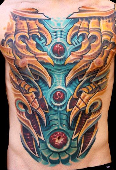 Bio Mechanical Chest Tattoo Tattoo Design Thumbnail