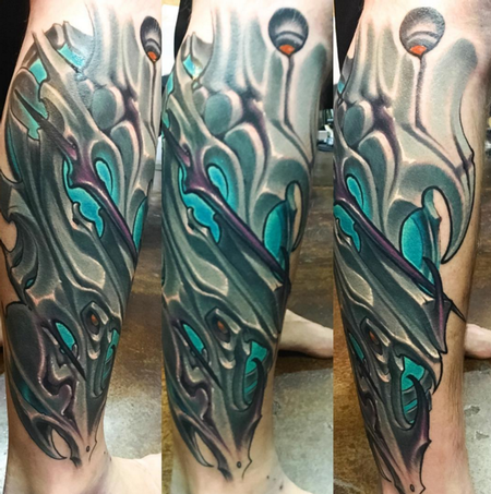 Tattoos - In-Progress Biomech Sleeve Tattoo - 115130