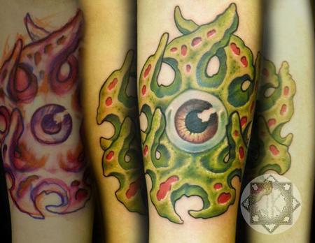 The Art of Joe King - Creepy Bio-Organic Eyeball Tattoo