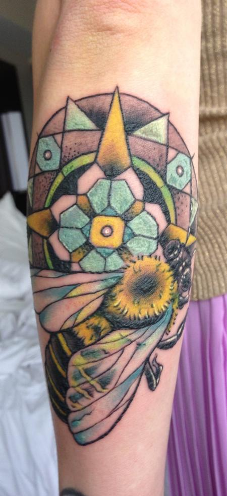 Tattoos - honey bee and mandala - 75760