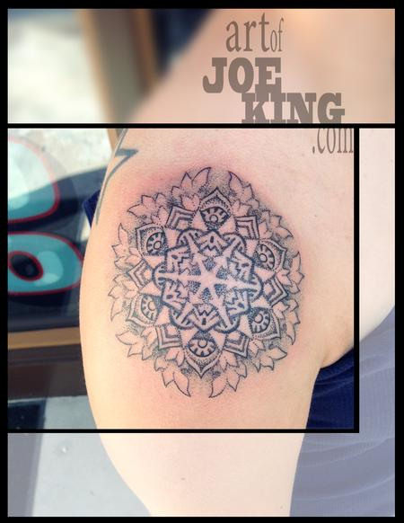 Tattoos - Dot Work Mandala with Leafy Edges - 96253