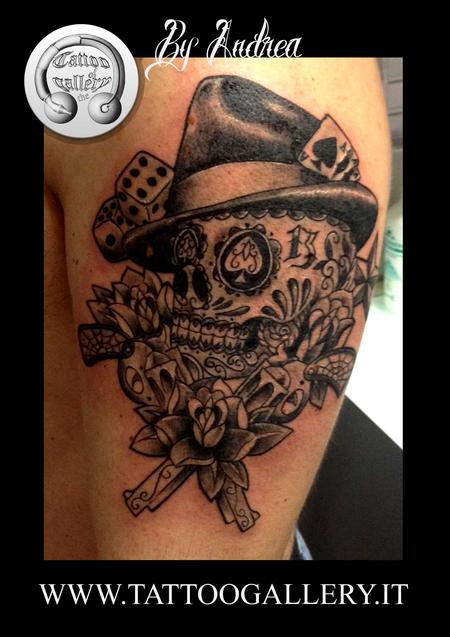 Tattoos - Tattoo teschio e revolver - 87256