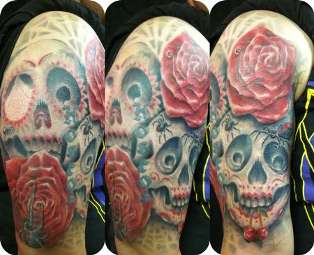 Tatto Sleves on Mathew Delamort   Roses Sugar Skulls Cherries Spider Sleeve