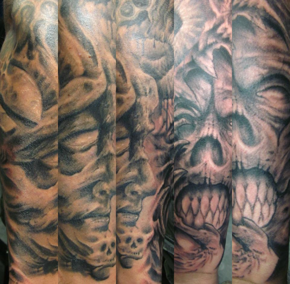 scary faces n skull Tattoo Thumbnail