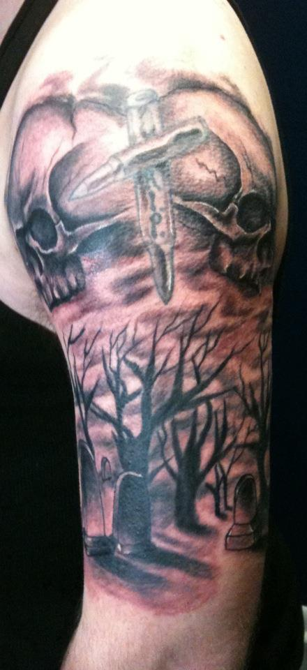 trees n grave Tattoo Thumbnail