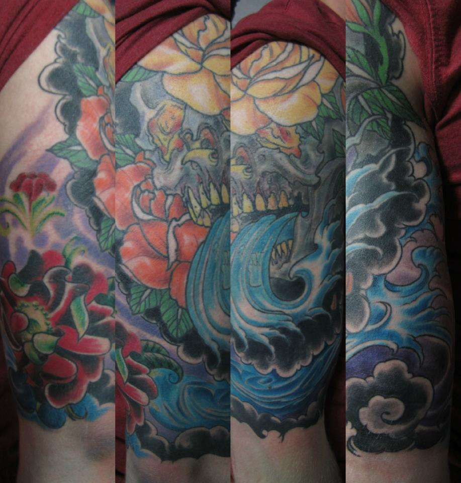 finerwaves skulls roses Tattoo Thumbnail