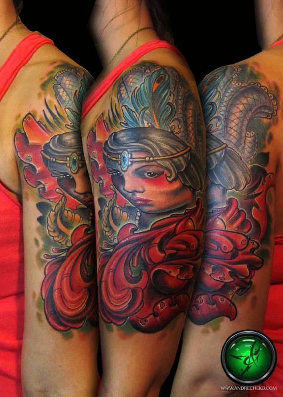 Flapper girl color half sleeve tattoo by Andre Cheko ...