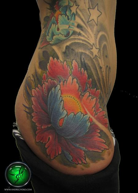 Tattoos - Floral Thigh Color Tattoos - 75705