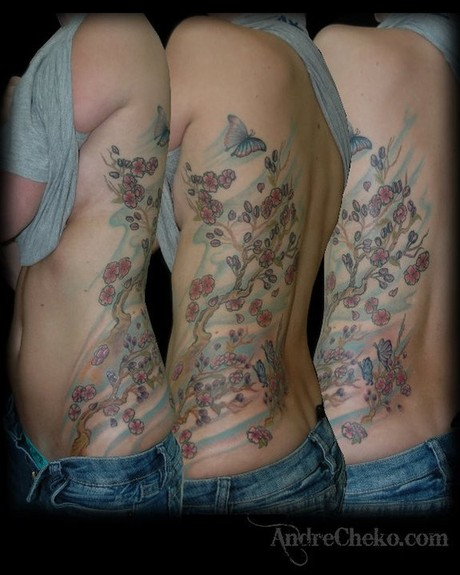 Andre Cheko - Cherry blossoms tattoo
